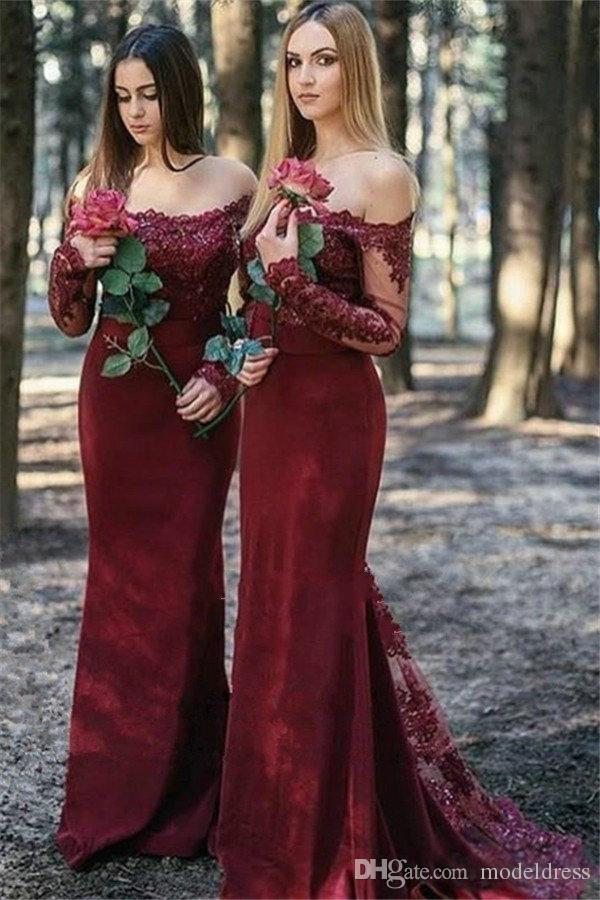 Burgundy Mermaid Maid Of Honor Dresses off The Shoulder Tops Lace Appliques Fishtail Train Elegant Country Bridesmaid Dresses for Weddings