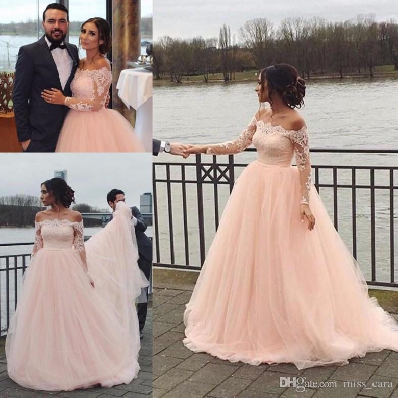 Discount Modest Blush Pink Wedding Dresses Long Sleeve Tulle Off Shoulder  Lace Arabic Bridal Gowns Sweep Train Plus Size Wedding Dress Lace Bridal ...