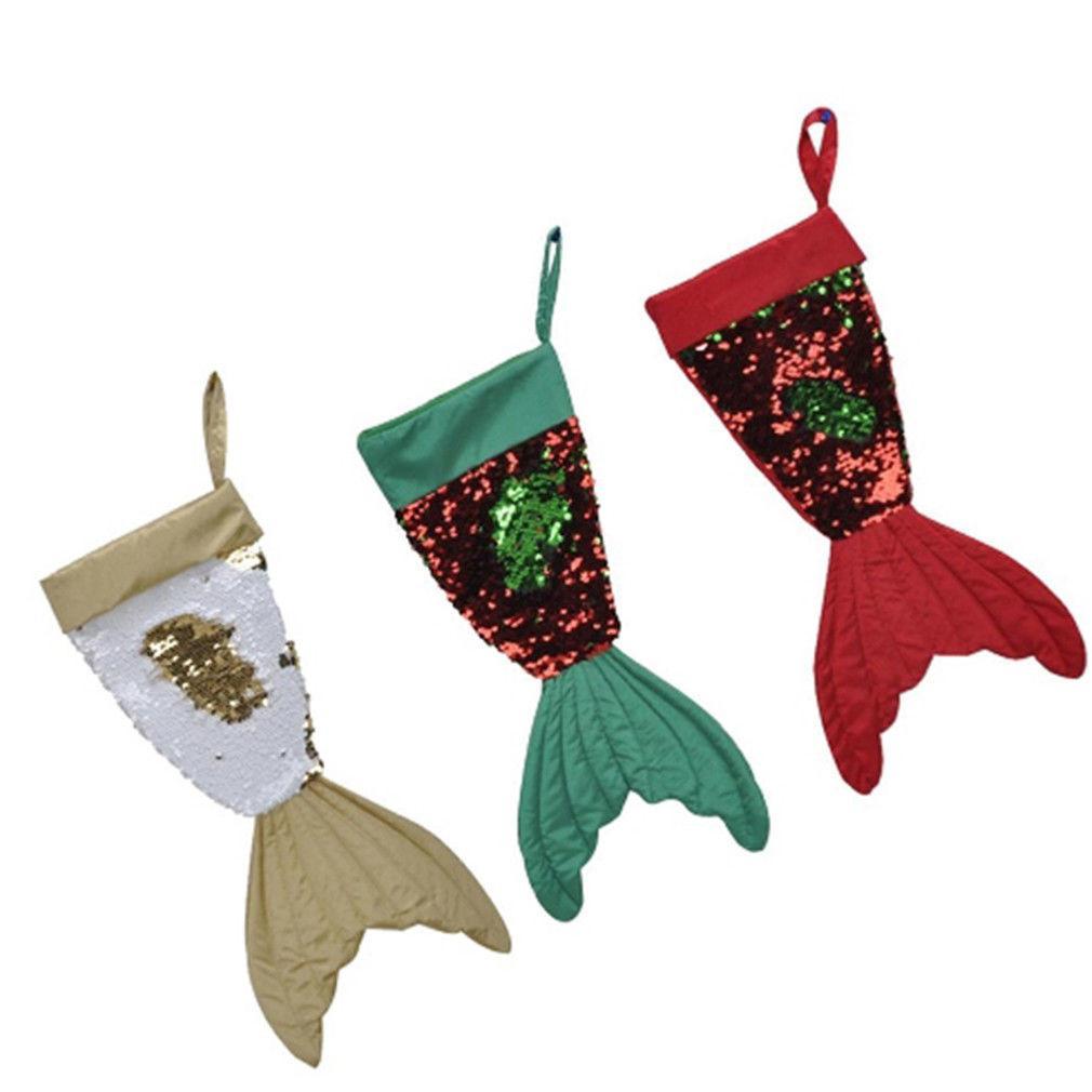 Venta al por mayor 1 UNIDS 16 Pulgadas Flip Beads Fishtail Medias de Navidad Bolsas de Regalo Feliz Año Nuevo Decoraciones de Navidad Envío Gratis