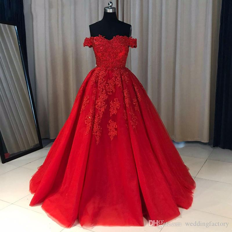 Discount Red Dress A Line Off Shoulder Plus Size Wedding Dresses Beaded  Lace Appliques Tulle Zipper Up Colorful Bridal Gowns Custom Made Wedding  Dress ...
