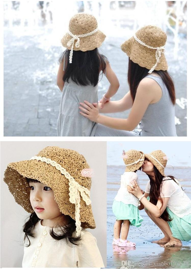 bébé mode gros et de détail fille large bord floppy été plage arc soleil style chapeau de paille modèles parent-enfant Livraison gratuite