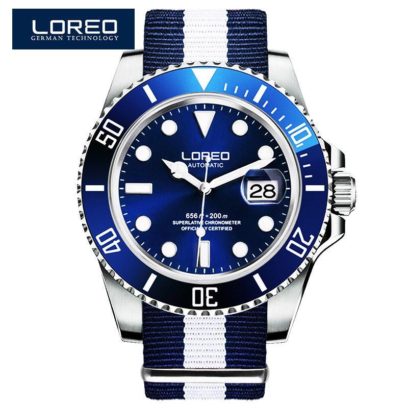 LOREO Series Fashion Classic Kalender Blau Dial Herren Automatikuhr Nylonband 200 m wasserdicht mechanische Uhr