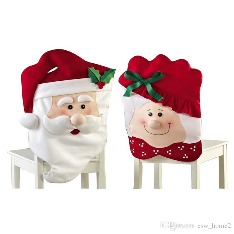 Frohes Neues Jahr Dekoration Stuhlhussen Esszimmer Weihnachtsdekoration Sitz Weihnachtsmann Weihnachten Oma Abdeckung Für Stuhl