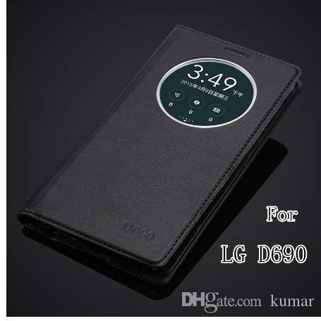 Mode fensteransicht schnell kreis case für lg g3 stylus d690 d690n luxus handy leder flip cover case