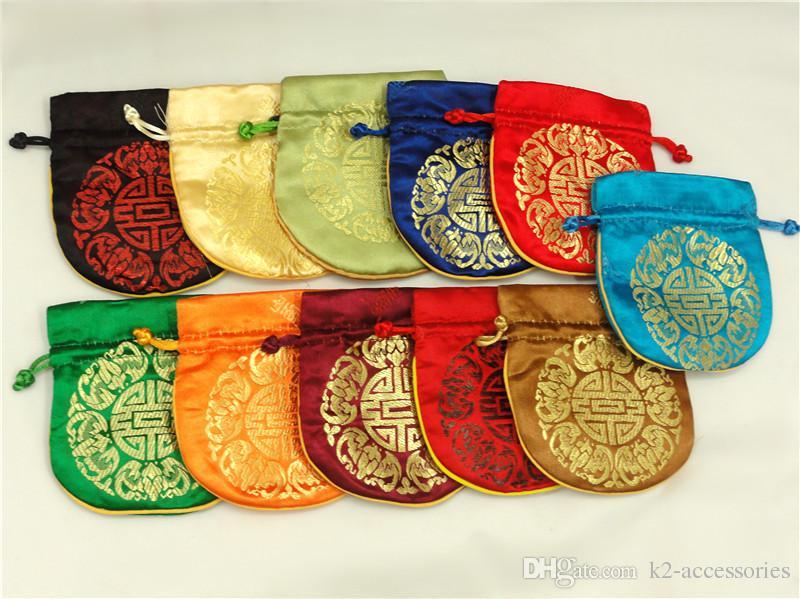 10PCS / LOT FOLK عملة المحفظة الحقيبة هدية صغيرة أكياس للمجوهرات الحرير الحقيبة حقيبة الصينية أكياس التعبئة والتغليف بالجملة