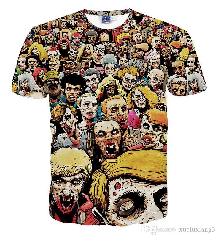 T-Shirt New The Walking Dead Hommes T-shirts Walker Skull Zombies Haute qualité Crewneck Top T-shirts À manches courtes Été