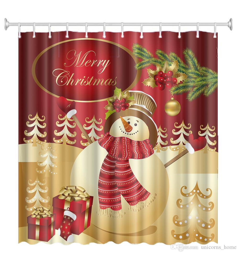 2019 Christmas Halloween Shower Curtain Waterproof Mildew Resistant Fabric Polyester Shower Curtain Christmas Decorate Curtains 150x180cm Cny749 From