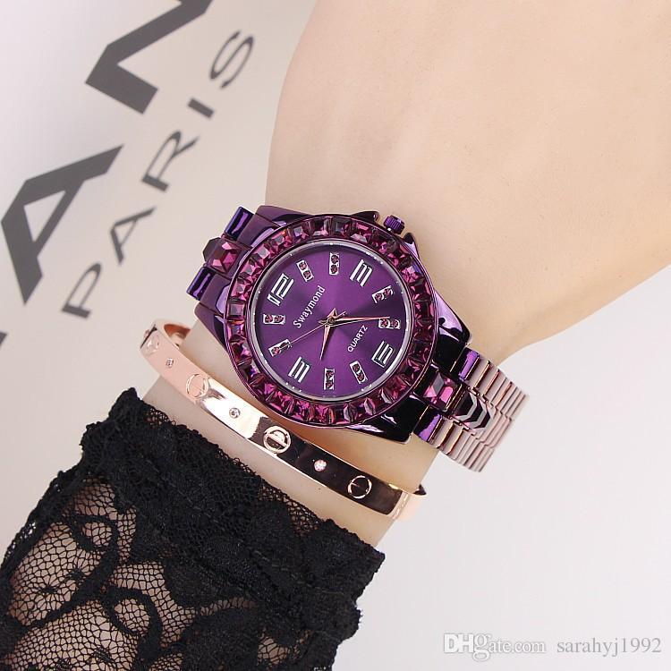 Женские часы Swaymond Марка часы новый фиолетовый Алмаз личности прочный из нержавеющей стали ремешок мода женские часы