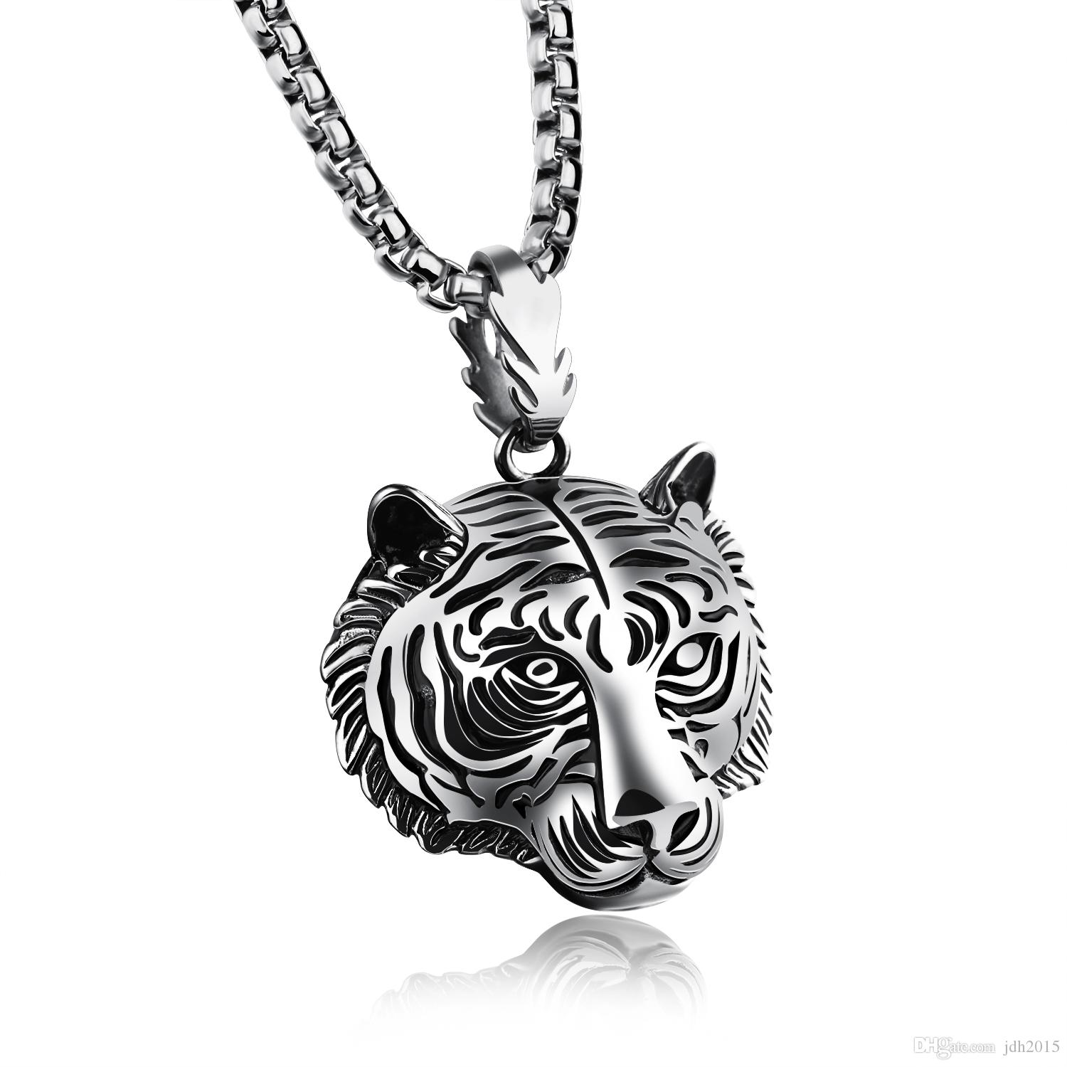 Hip Pop Stainless Steel Mens Tiger Head Pendant Necklace with 24 inches Chain