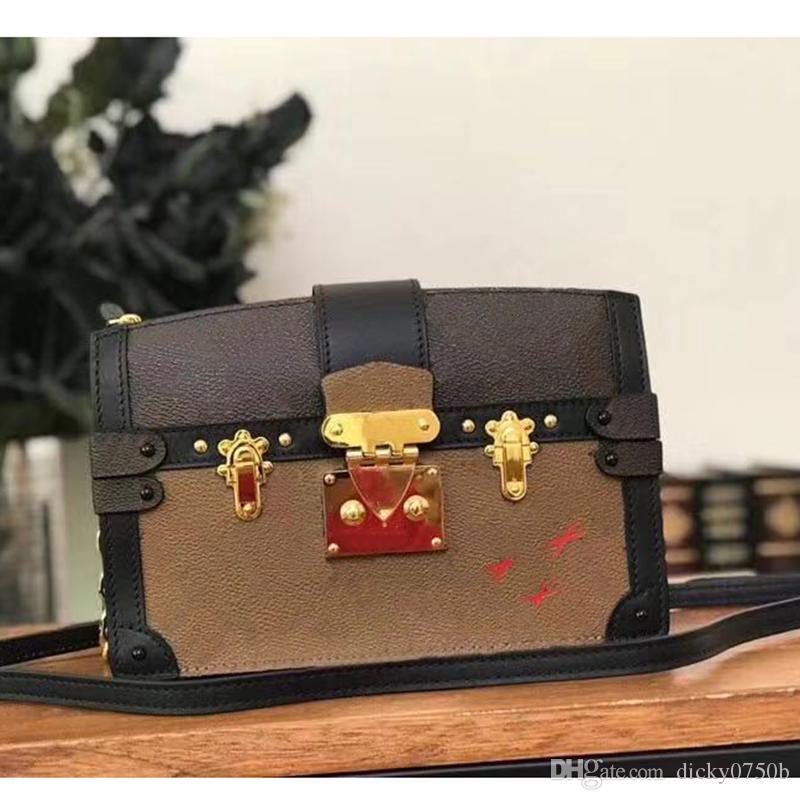 2019 Wholesale Designer Box Ursprüngliche petite malle Handtaschen Abendtaschen Leder Mode Box Clutch Brick Messenger Schultertasche 43596