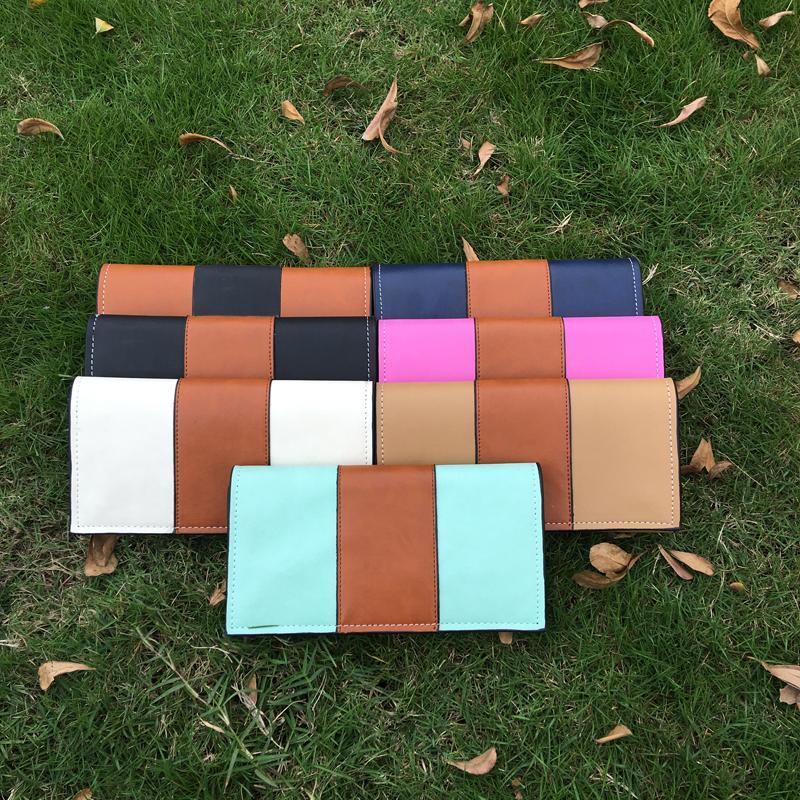 직사각형 가짜 가죽 여성 긴 지갑 색 콘트라스트 클러치 지갑 카드 7 색 DOM106541에서 검은 색 안감이있는 지갑