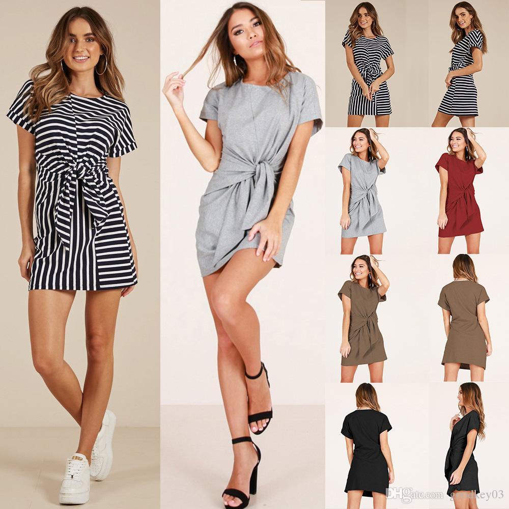 Women Summer Bodycon Dress Short Sleeve Knee Length Party Dress Sundress CA