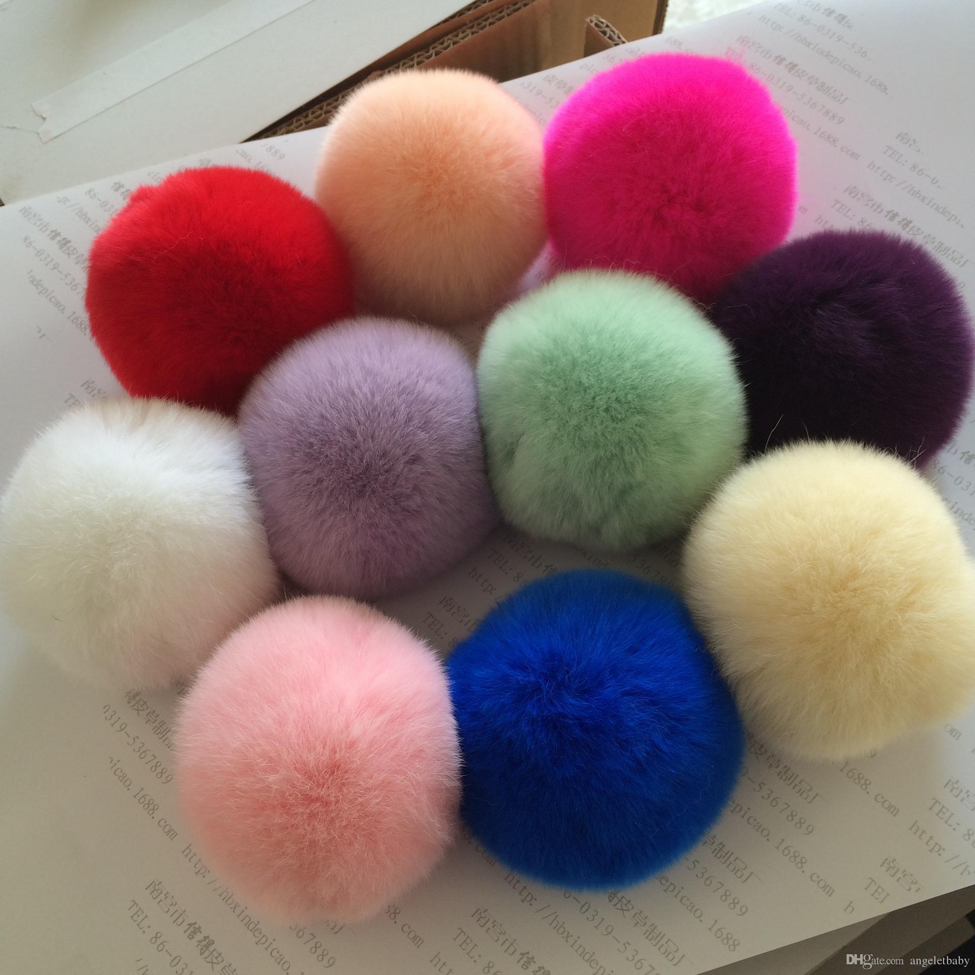 8cm Hi-Q Multi color pompon ball fluffy pompom Rex Rabbit Fur Craft DIY Soft hair Accessories 16pcs GR109