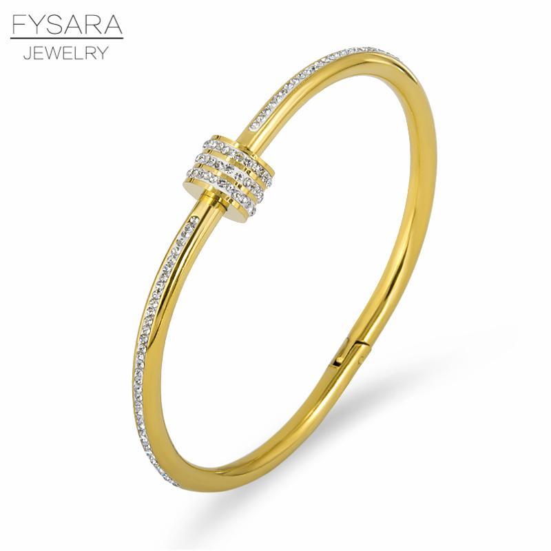 Joyería FYSARA Amor Tornillo brazaletes de las pulseras para las mujeres Moda Cubic Zirconia cristales completos Pulseiras encanto de la joyería