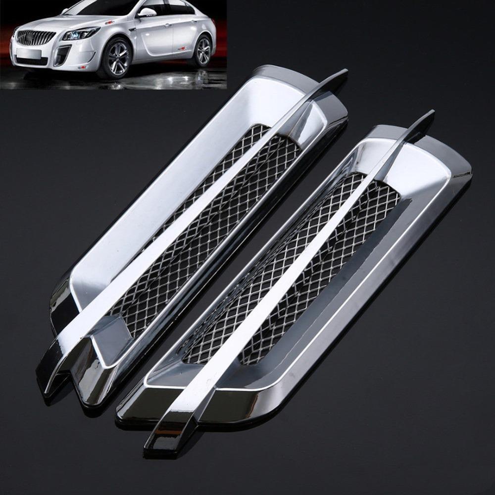2 pezzi 22 * 6.2cm ABS Universal Car Chrome Side Air Flow Vent Decorazione adesivi parafango Argento autoadesivo Auto Styling Nuovo