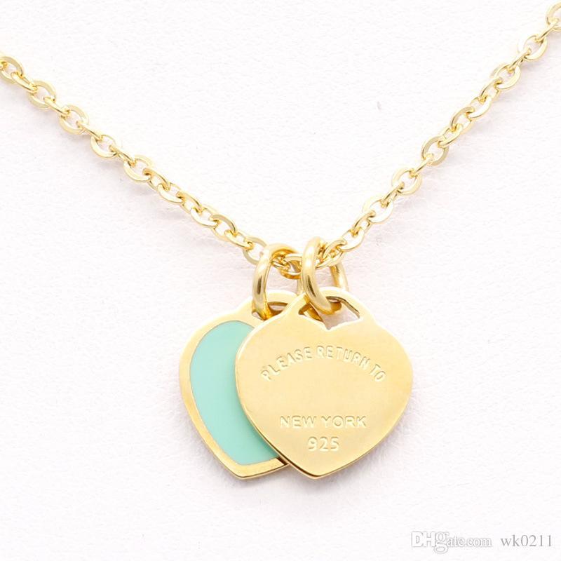 Nowa szkliwa ze stali nierdzewnej Różowy Naszyjnik Dwu-Heart Forever Love Titanium Steel Heart T Naszyjnik dla kobiet
