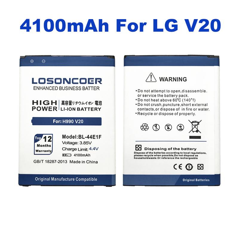 wholesale 4100mAh High Capacity BL-44E1F Battery For LG V20 Battery H990 F800 VS995 US996 LS997 H990DS H910 H918 Stylus3 M400DY