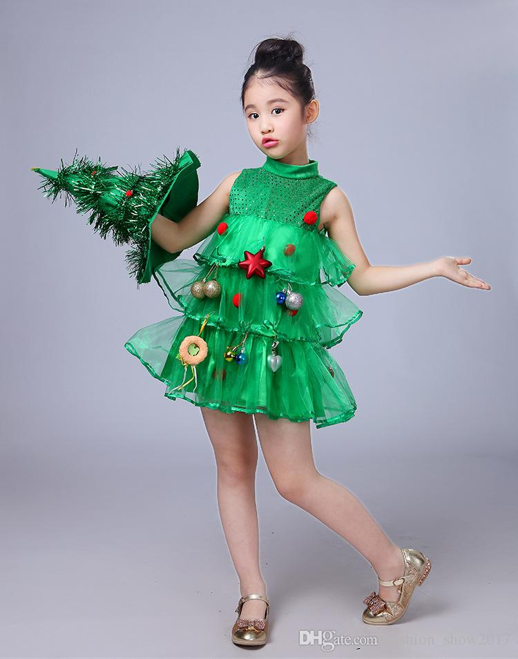 Christmas Tree Costume.2019 Christmas Girl Dresses Princess Costume Toddler Kids Baby Girls Christmas Tree Costume Dress Tops Party Vest Hat Outfits From Fashion Show2017