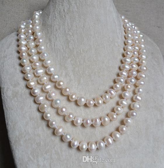 100% natürlicher Perlenschmuck, weiße Farbe 60 '' lange Perlenkette, 9x11mm reale Frischwasserperlen-Halskette, Brautjungfer Geschenk für Frauen