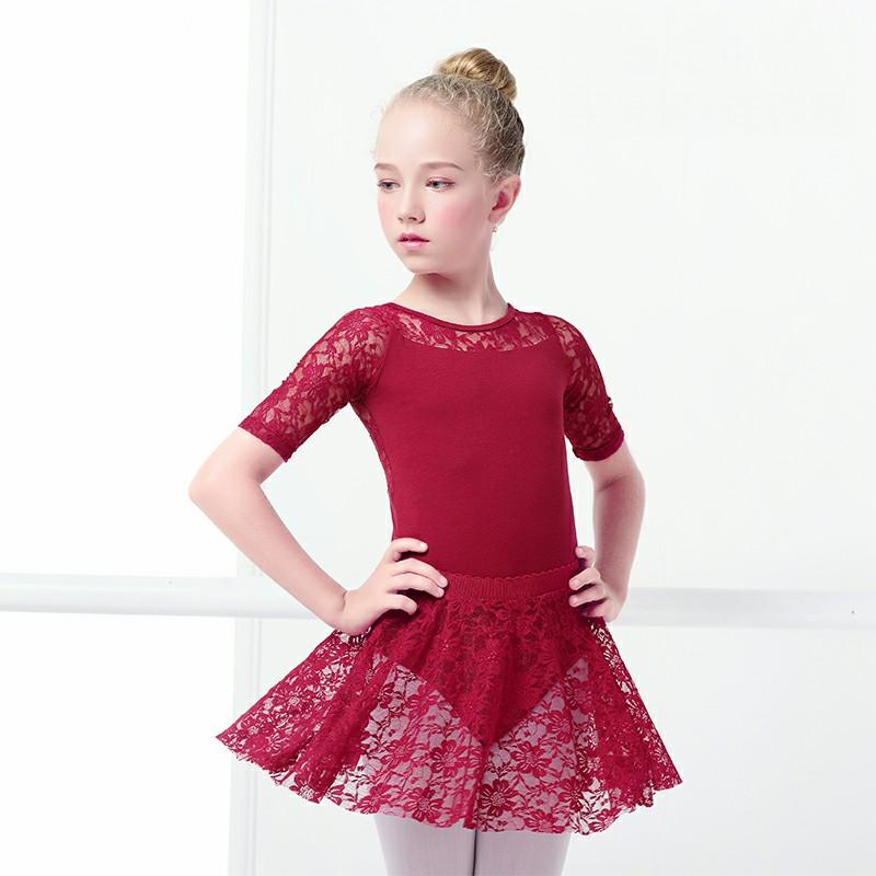 Kids Ballerina Dress Dance Ballet gymnastics Ballet Leotards Children Short Sleeves Lace Dress For Girls Bodysuit Clothes