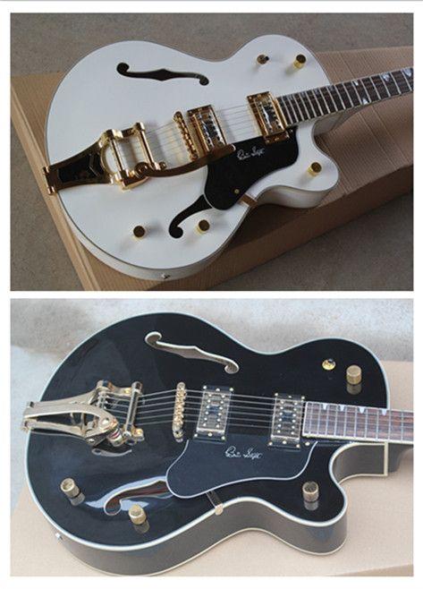 Brand New Top Quality Custom Shop Black & White Falcon Semi Hollow Body 6120 Jazz Electric Guitar With Tremolo Golden Hardware