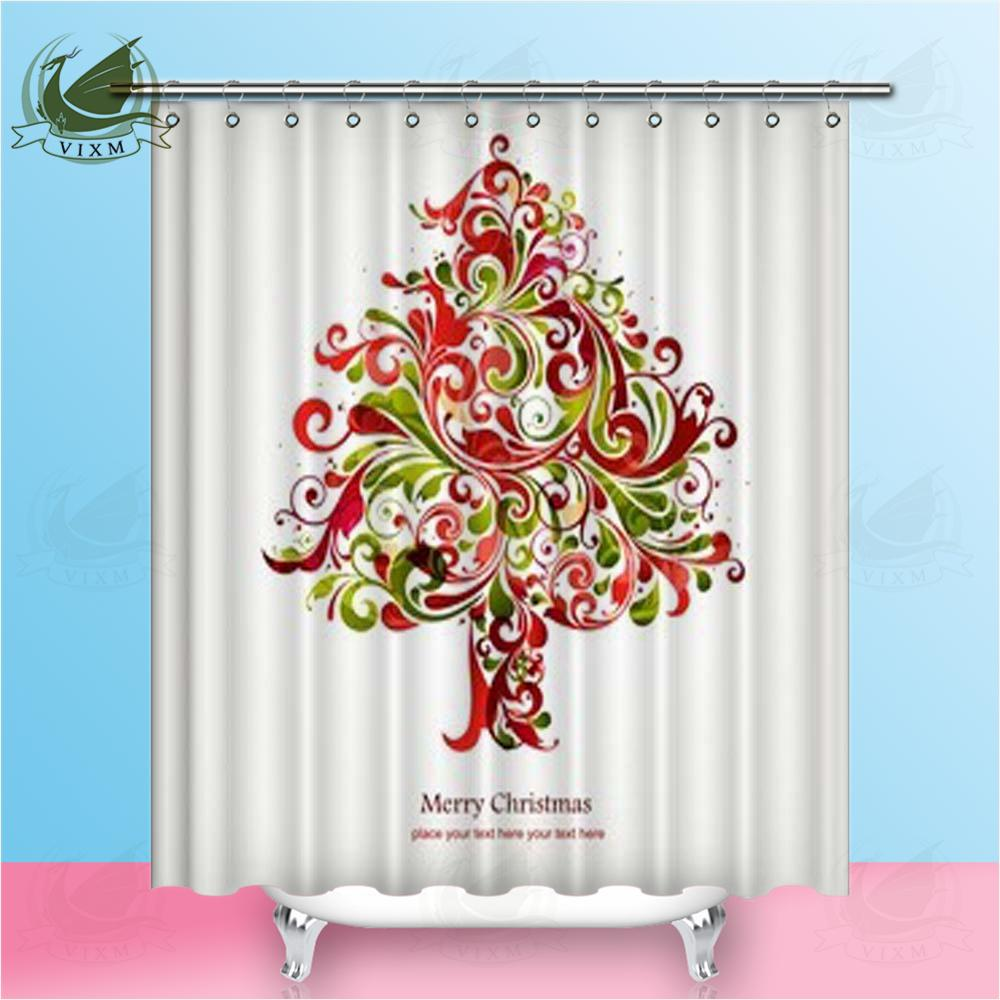 Vixm Home Christmas Tree Fabric Shower Curtain Colorful Of Ink Paint And Butterfly Bath For Bathroom With Hook Rings 72 X