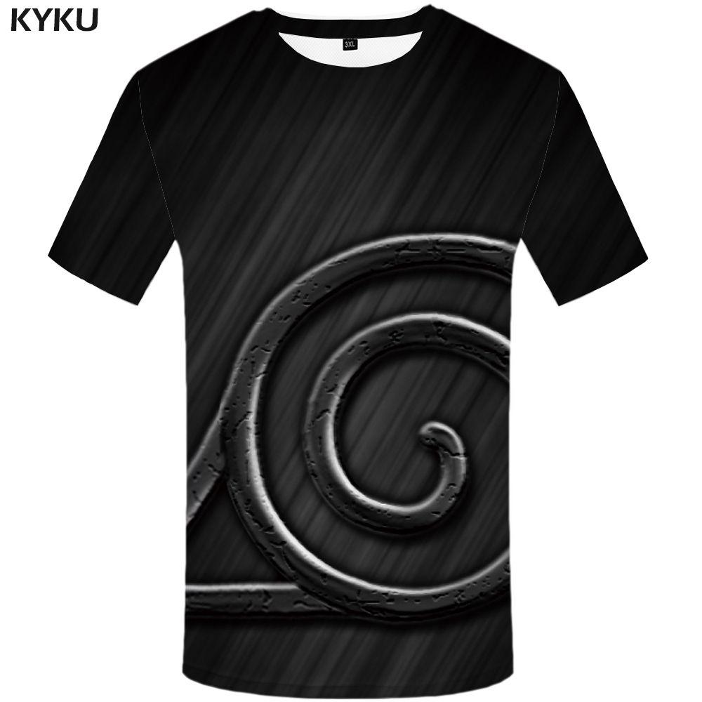vente en gros naruto t shirt hommes vêtements anime drôles t shirts gothique 3d t-shirt hip hop tee noir vêtements pour hommes 2018 été manches courtes