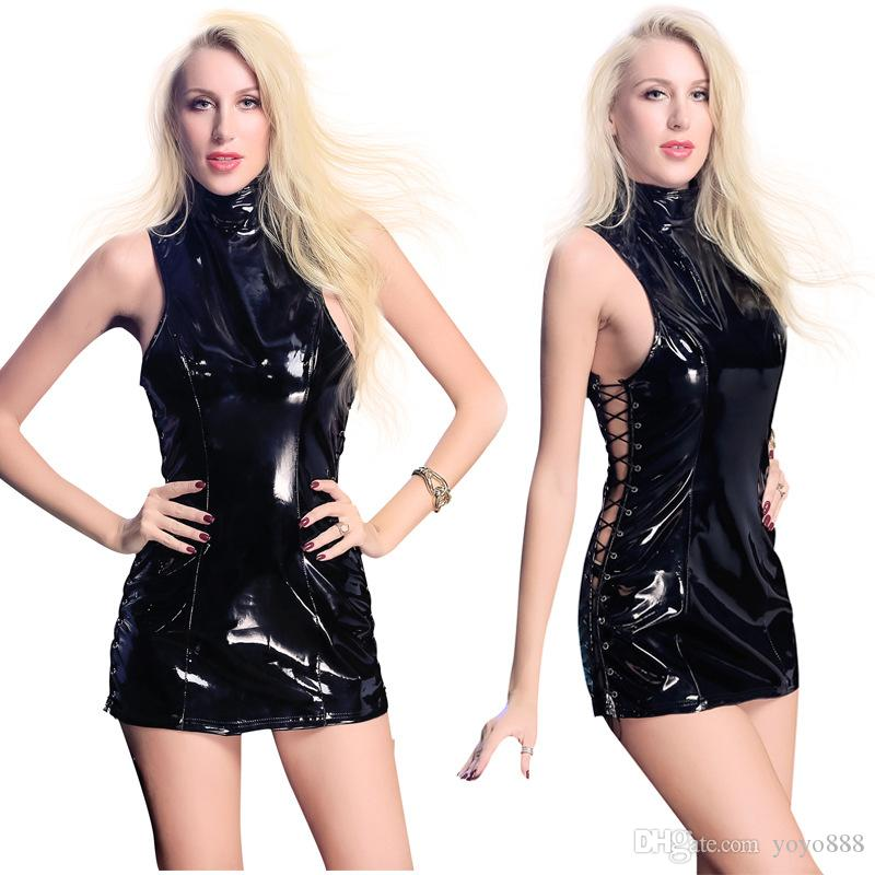 Sexy Lingerie PVC look Nero Ecopelle Gothic Fetish Hollow Night Baby Dolls X6762