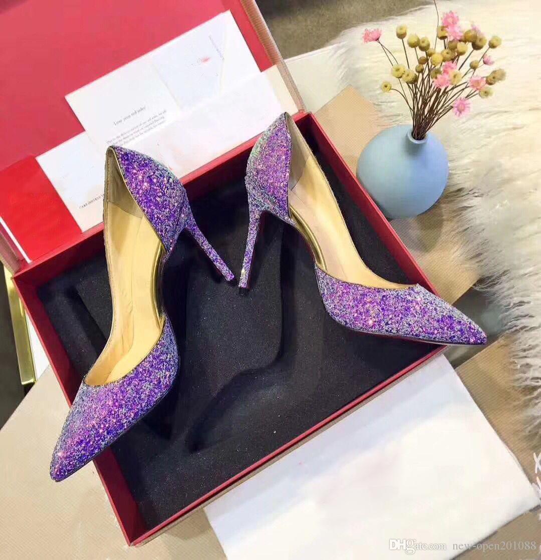 Donna di alta qualità Nuove paillette viola A punta Tacchi alti Scarpe moda sexy Scarpe da lavoro per ufficio Scarpe da donna