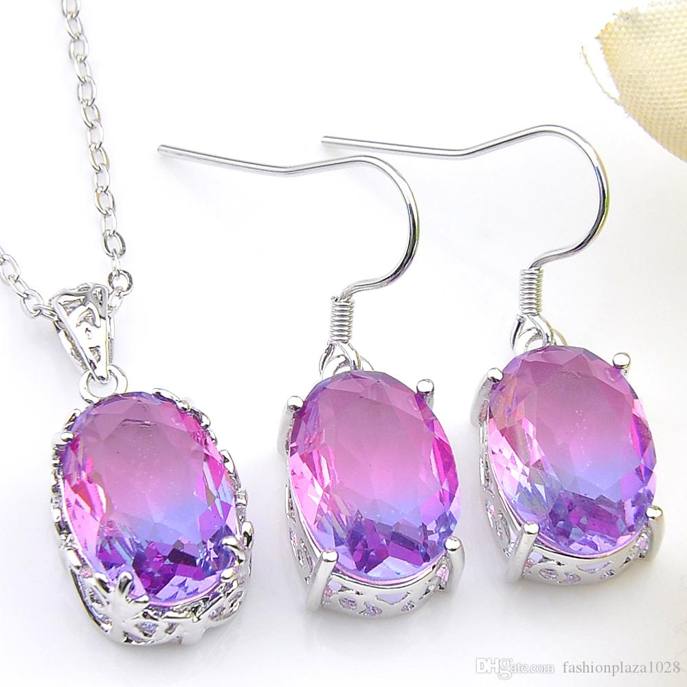 Luckyshine Pendants Earrings Sets 925 Sterling Silver Plated Necklace Oval Bi colored Tourmaline For Women Jewelry Sets Anniversary Gift