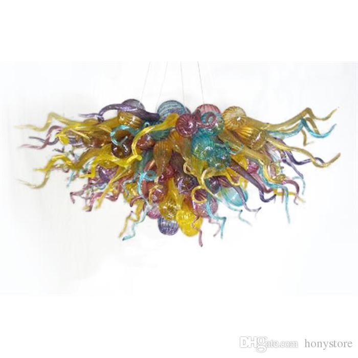 Soplado hecho a mano lámpara de cristal tamaño pequeño elegante color de la decoración del arte de múltiples LED de la lámpara del accesorio ligero para sala de estar