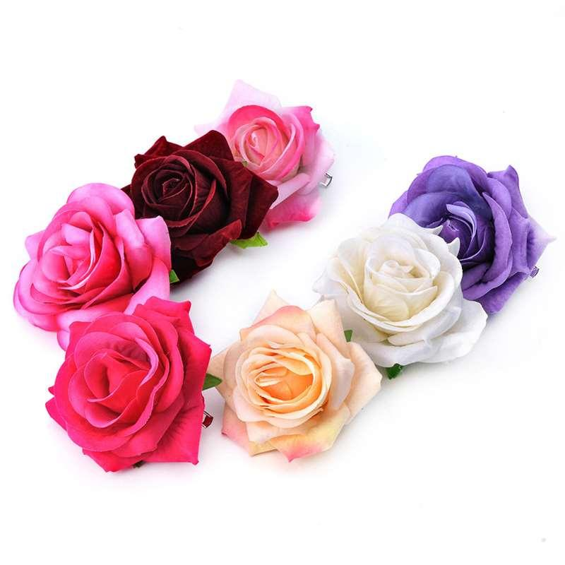 7CM single cashmere Rose Brooch and making simulation flower hairpin dual-purpose small jewelry