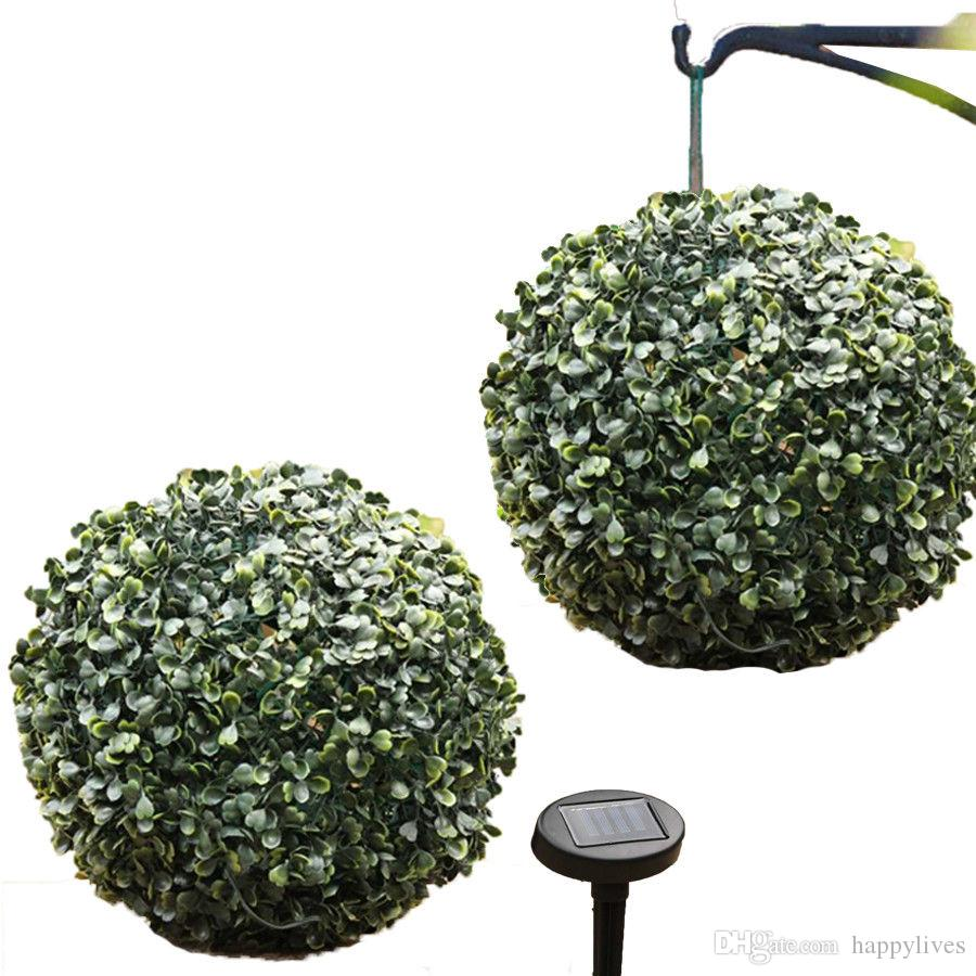 28cm Verde Solar Powered Topiary Buxus Artificial Garden Ball 20 luces LED NUEVO