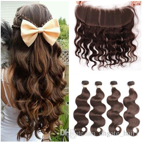 Chocolate Brown Brazilian Human Hair Weaves 3 Bundles with Frontal Body Wave #4 Dark Brown Hair Bundle Deals with 13x4 Lace Frontal Closure