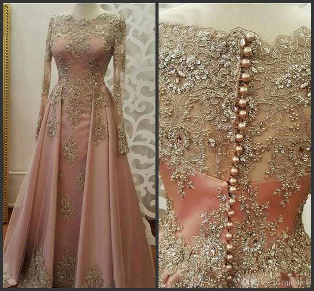 Blush Rose gold Long Sleeve Evening Dresses for Women Wear Lace Appliques crystal Abiye Dubai Caftan Muslim Prom Party Gowns 2018 New