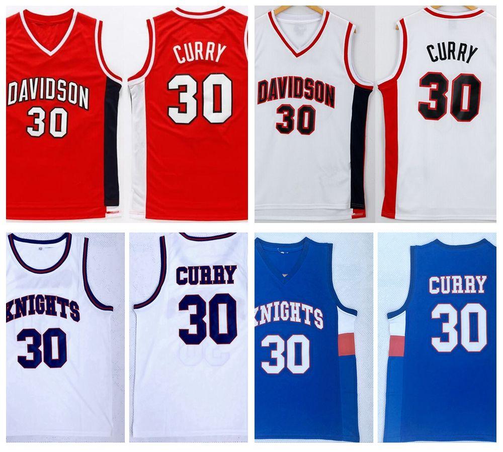 رجل الفرسان ستيفن كاري 30 الفانيلة كرة السلة في المدرسة الثانوية NCAA Davidson Wildcat College Stitched Shirts Blue Red S-XXL