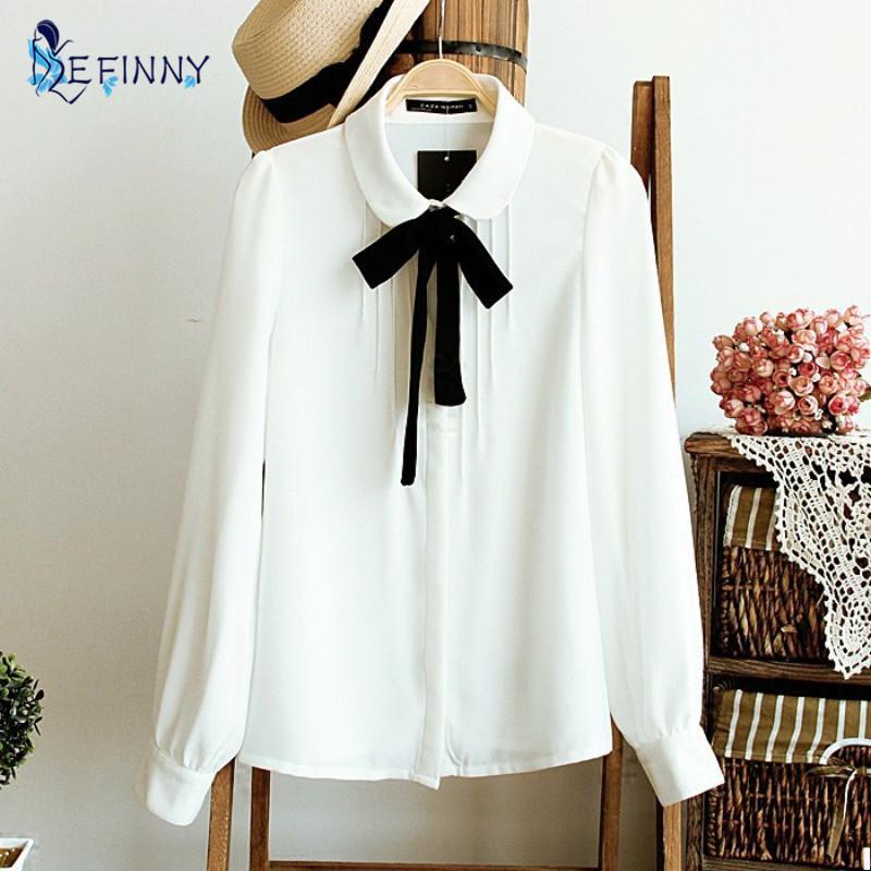 여성 우아한 검은 나비 넥타이 화이트 블라우스 쉬폰 피터 팬 칼라 캐주얼 셔츠 여성 학교 블라우스상의와 셔츠를 여자 탑