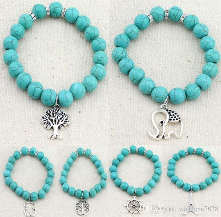 Natureza Turquoises Quadrado Elástico Verde Howlite Pedra Beads Pulseira Elefante, Árvore, Guaxinim, Leme, torre Charme Jóias