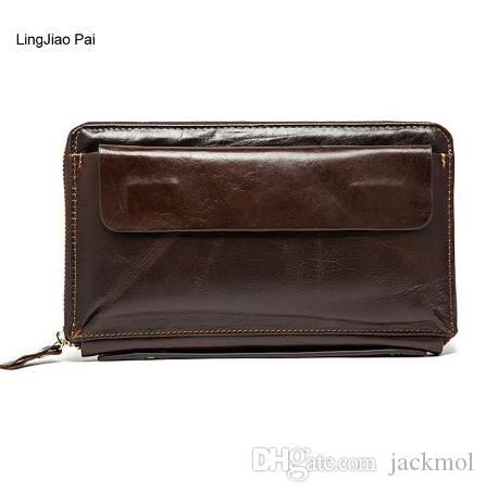 LingJiao Pai Uzun Erkekler Cüzdan Erkek Deri Seyahat Kredi Kartı Cüzdan Fermuar Cep Telefonu Cebi Çanta