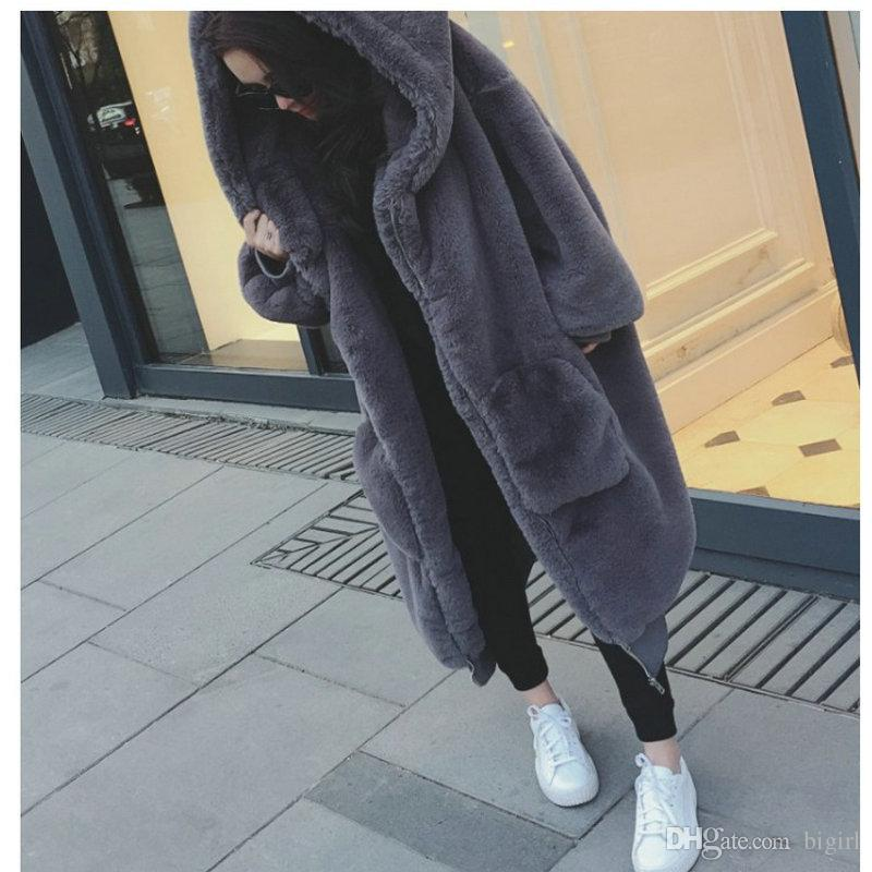 New Women Faux Rex Rabbit Fur Coat Fashion Autumn and Winter Casual Thick Warm Loose All-matched High Quality Female Fur Coat