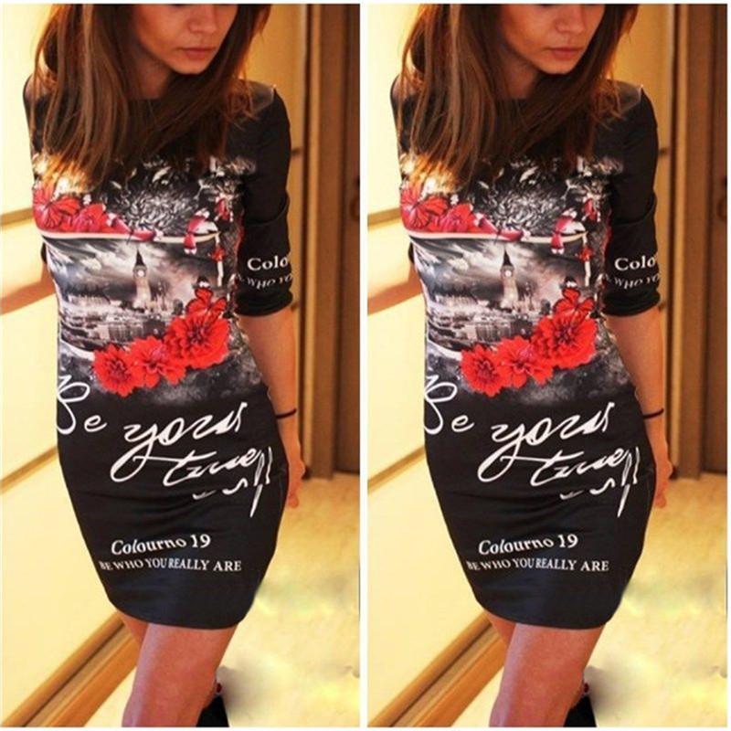 Femmes D'été Robes Nouveau 2018 Casual Sexy Coeur de Bande Dessinée Impression Moulante Crayon Femme Partie Club Lait Soie Mini Robe Robe Robes