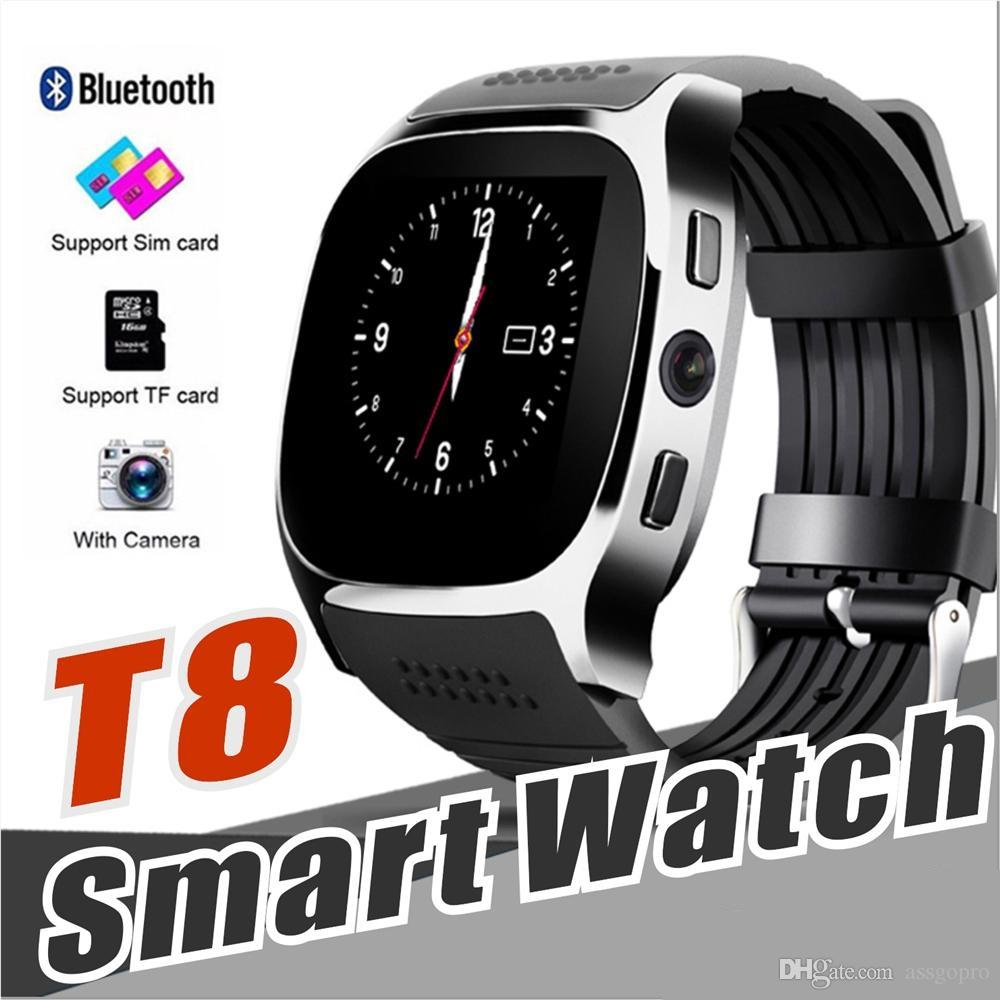 T8 Bluetooth Smart watch Support SIM TF Card With Camera Music Player Facebook Whatsapp Sync SMS Smartwatch for Android With Retail Package