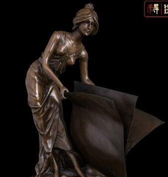 15 Abstract Art Sculpture Copper Bronze Marble Book Maiden Girl Statue Figurine