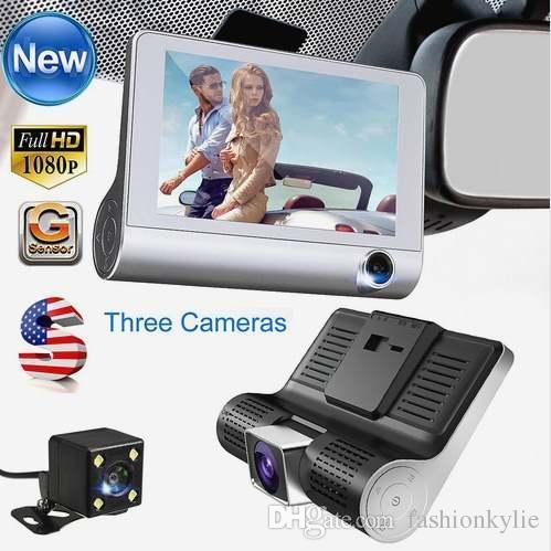 """4/"""" Lente Dual Hd 1080P coche DVR Cámara Grabadora Cámara De Visión Trasera Video Tablero Sensor G"""