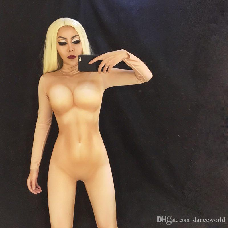 Sexy Nude Jumpsuit Discoteca Bar Show Bodysuit Disfraz Femenino Cantante Grupo Baile Etapa Desgaste Ropa de rendimiento