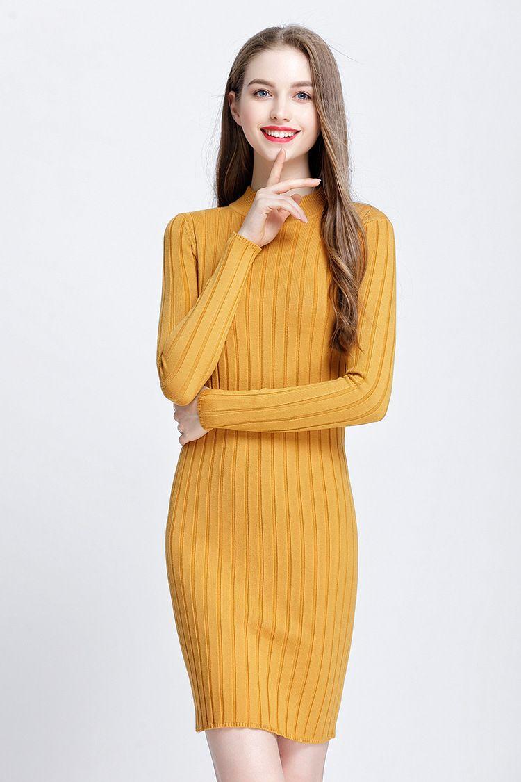 großhandel 2018 herbst winter neue warme frauen pullover kleid mode langarm  strickwaren kleid elegant bodycon sexy dünnes kleid schwarz weiß gelb grau