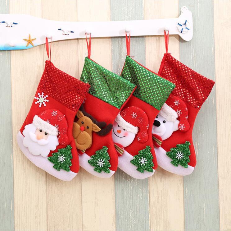 15 * 25 cm Sequins Noel Çorap Süslemeleri Çocuk Noel Partisi Noel Baba Kardan Adam Elk Çorap Dekorasyon Çocuklar Şeker Hediye Çanta