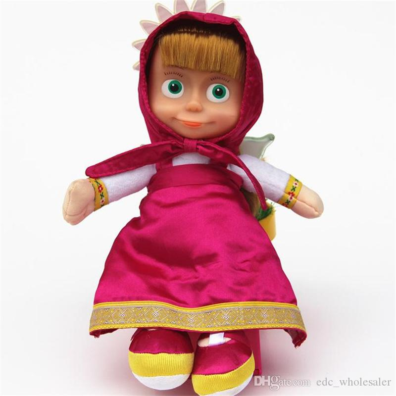 27cm Popular Masha Plush Dolls High Quality Russian Martha Marsha PP Cotton Toys Kids Briquedos Birthday Gifts Free Shipping