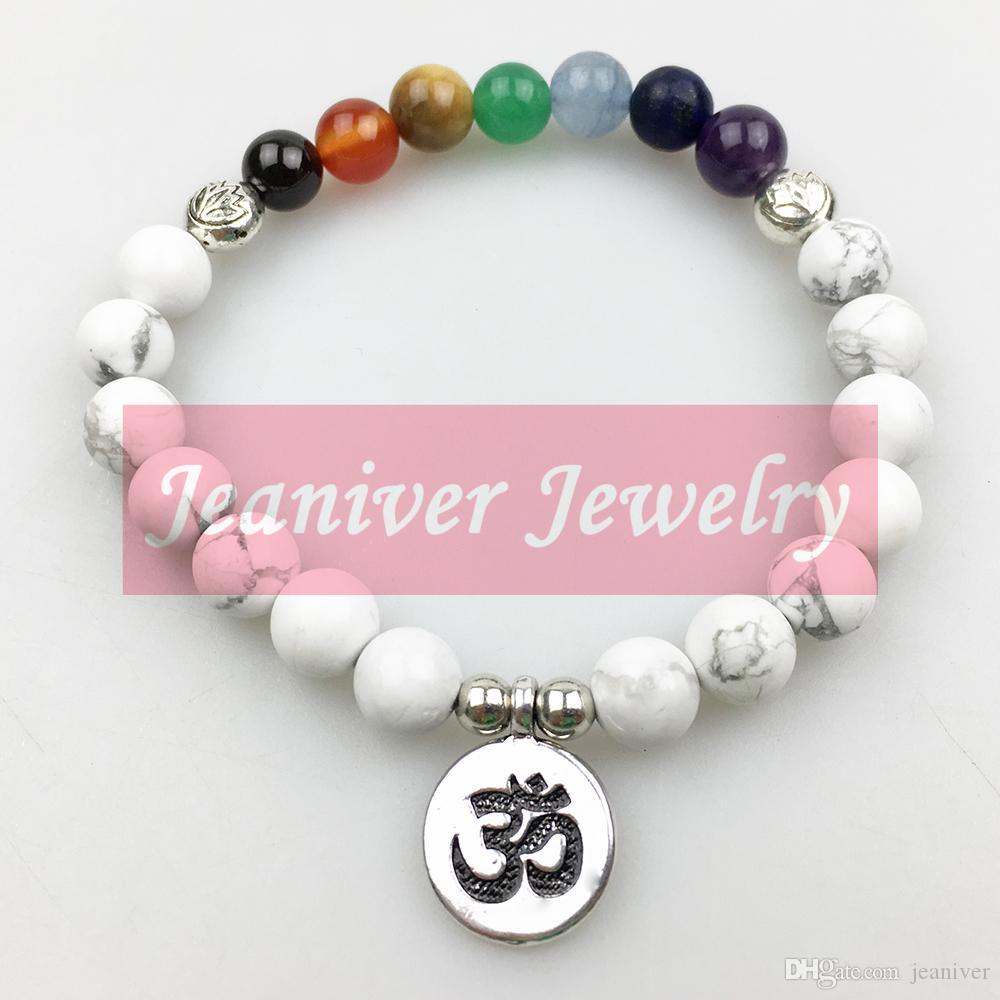 Jeaniver 2019 Nouvelle arrivée Conception Women`s Bracelet Yoga Mode 7 Chakra Bracelet de haute qualité Howlite Bracelet équilibre