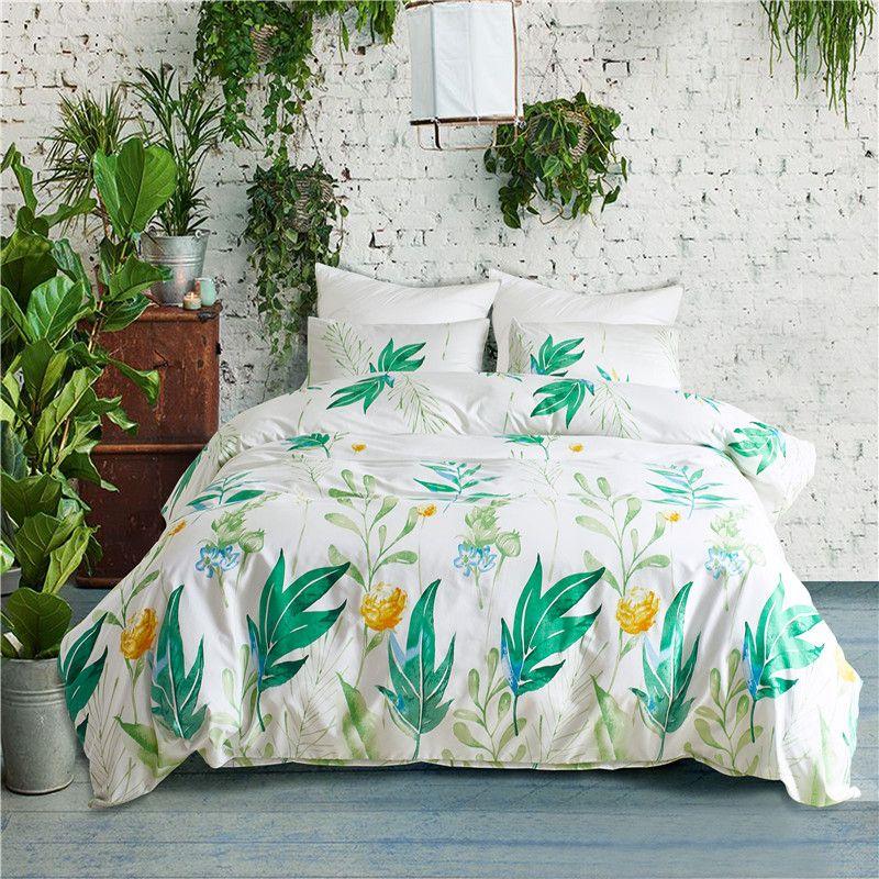 Идиллический Зеленый лист шаблон полиэстер наборы постельных принадлежностей 2/3шт кровать подкладки пододеяльник наволочки комплект США Твин королева король размер